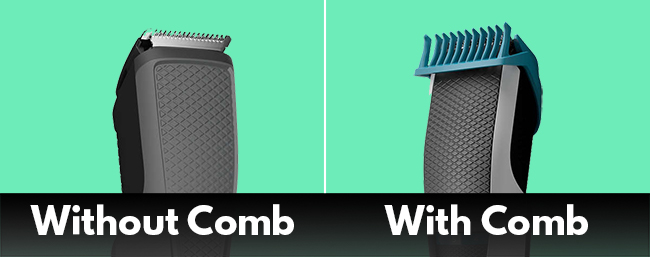 trimmer with and without comb